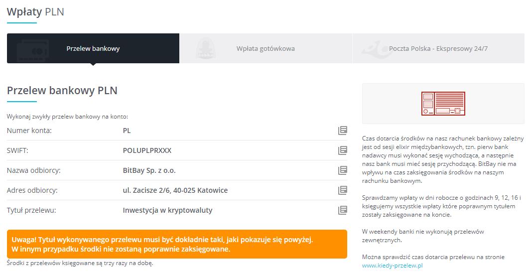 Wpłaty Bitbay